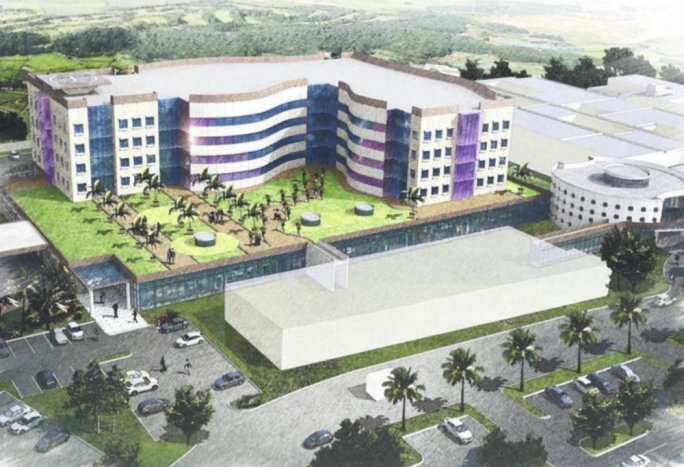 An earlier rendition of the new Gozo medical campus that will be constructed by the Vitals Healthcare group, and run by Barts. The ERA has expressed concern on how the removal of blue clay during construction, will impact the underlying perched aquifer and the catchment of rainwater