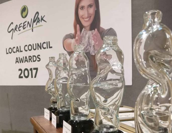 The trophies of GreenPak Local Council Awards were designed to complement the 'Crush Plastic Bottles' campaign