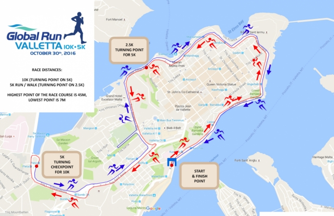 The routes for the Global Run Valletta are unveiled
