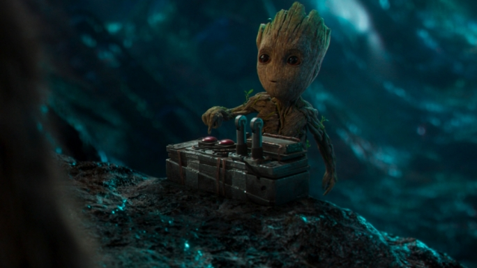 Groot – the tree monster reduced to a toddler in the first film – steals the show yet again