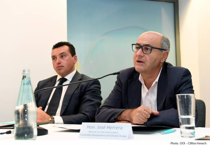 Environment Minister Jose Herrera (right) with Parliamentary Secretary for EU Funds Aaron Farrugia