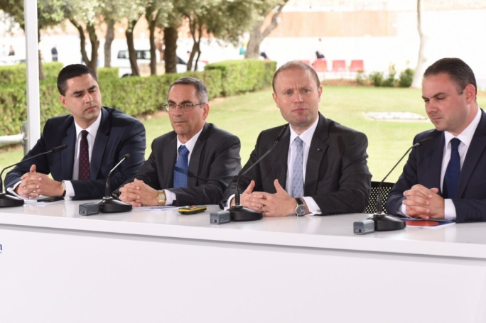 From left: Parliamentary secretary Ian Borg, transport minister Joe Mizzi, Prime Minister Joseph Muscat and justice minister Owen Bonnici
