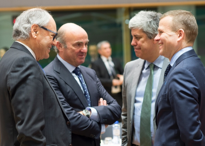 (First left) Malta's Finance Minister Prof Edward Scicluna at the Eurogroup meeting, convened on the eve of the Economic and Financial Affairs Council (ECOFIN) in Brussels