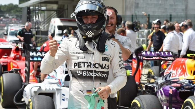 Pole sitter Nico Rosberg (GER) Mercedes AMG F1 celebrates in parc ferme at Formula One World Championship, Rd18, Brazilian Grand Prix, Qualifying, Interlagos, Sao Paulo, Brazil, Saturday 14 November 2015.