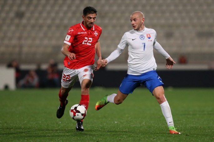 Cain Attard (Malta) and Vladimir Weiss (Slovakia) in action. Photo: Christine Borg