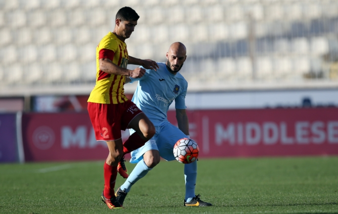 Edward Herrera (Birkirkara) and Ian Azzopardi (Gżira) in action. Photo: Dominic Borg