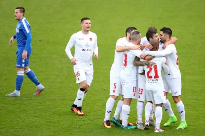 Valletta's players celebrating their goal. Photo: Christine Borg