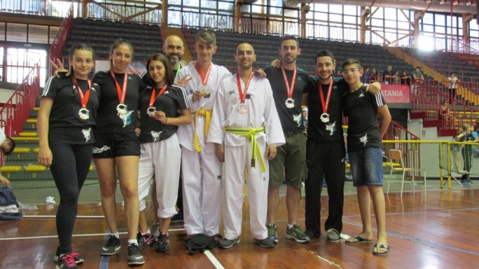 The athletes who participated in the First International Taekwondo Catania Cup together with their coach Stephen Formosa.