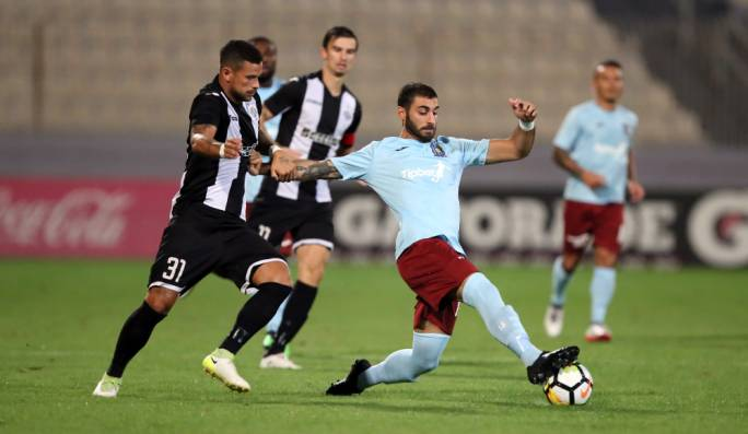 Marco Sahanek (Hibs) challenging Karl Pulo (Gżira) for the ball. Photo: Dominic Borg