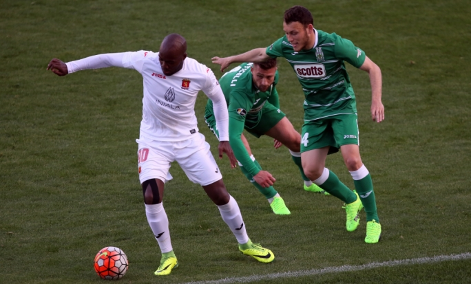 Romeu Romao of Valletta trying to hold on to possession. Photo: Dominic Borg