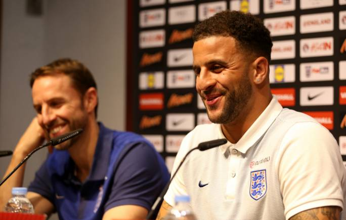 Gareth Southgate and Kyle Walker addressing the media. Photo: Christine Borg