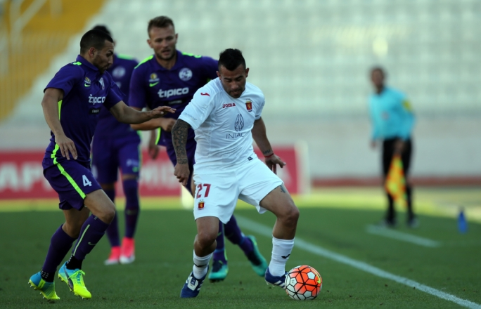 Maximiliano Alejandro Velasco of Valletta trying to hold on to possession. Photo: Dominic Borg