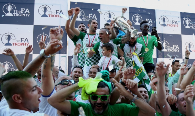 Floriana's players and supporters celebrating their win. Photo:Christine Borg
