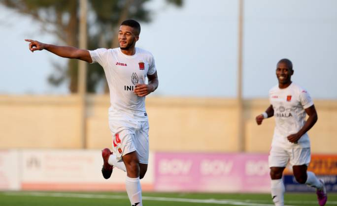 Kyrian Nwoko celebrating his first goal against Tarxien Rainbows. Photo: Christine Borg