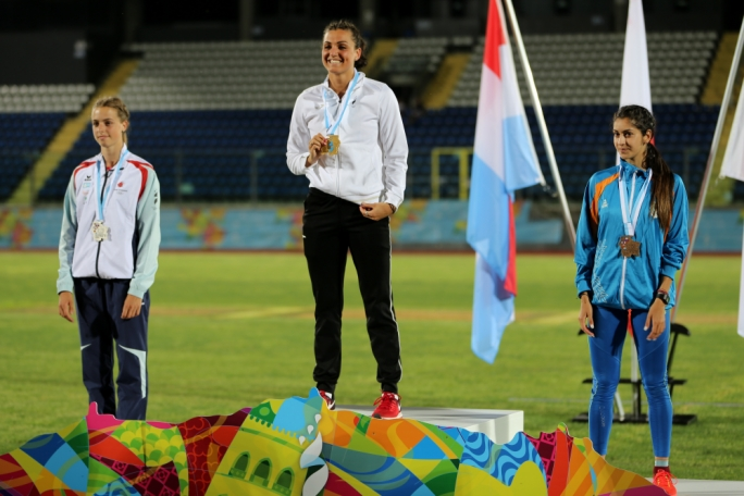 Charlotte Wingfield celebrating her medal. Photo: Dominic Borg