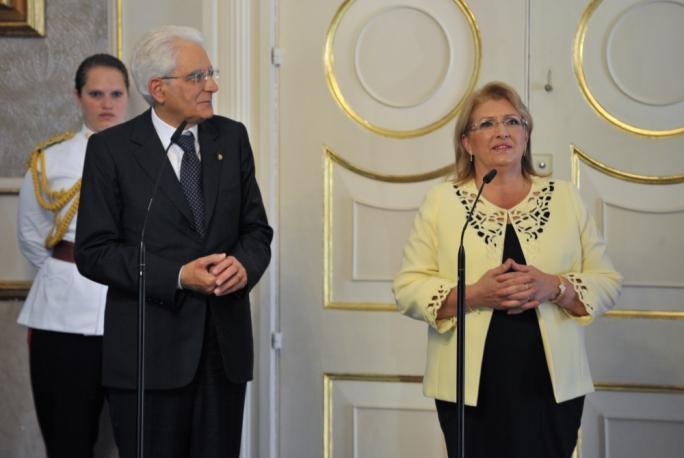 Italian president Sergio Mattarella and Maltese president Marie Louise Coleiro Preca
