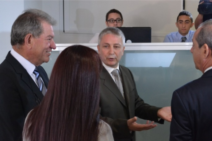 Ivan Bartalo (centre) with former Prime Minister Lawrence Gonzi (right) and business partner and PN donor Zaren Vassallo (left)