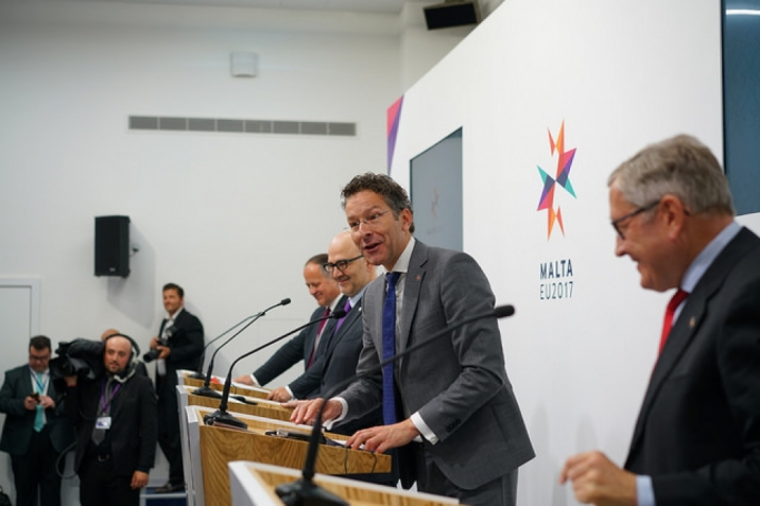 Eurogroup head Jeroen Dijsselbloem addresses a press conference at the end of the meeting in Malta