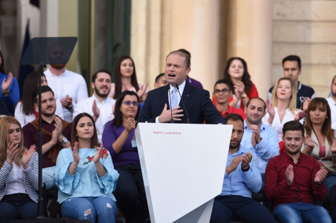 Joseph Muscat announced a snap election during a May Day mass meeting on Sunday