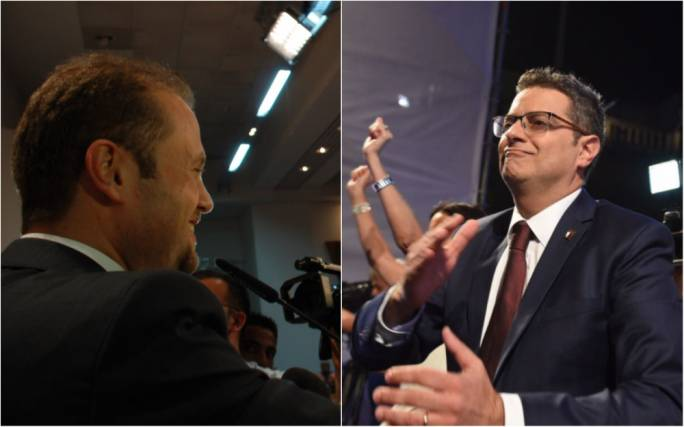 Joseph Muscat from his 2008 mass rally and Adrian Delia (R) from last night's mass meeting
