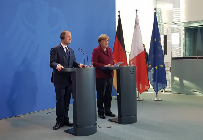 Prime Minister Joseph Muscat and German Chancellor Angela Merkel