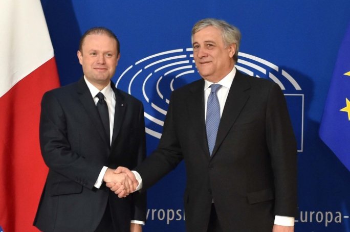Prime Minister Joseph Muscat with new European Parliament President Antonio Tajani (Photo: Jeremy Wonacott /DOI)