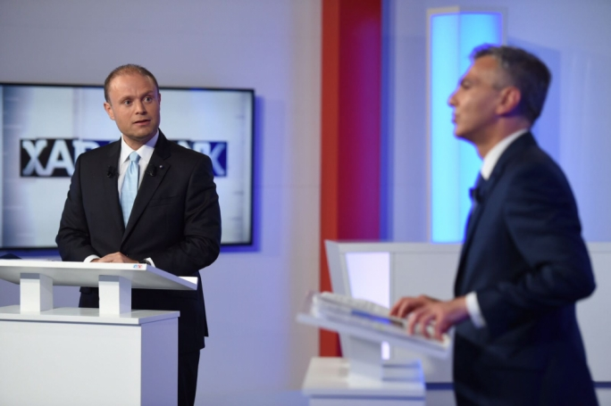 Prime Minister Joseph Muscat and Opposition leader Simon Busuttil spar in first televised debate during the electoral campaign (Photo: James Bianchi/MediaToday)