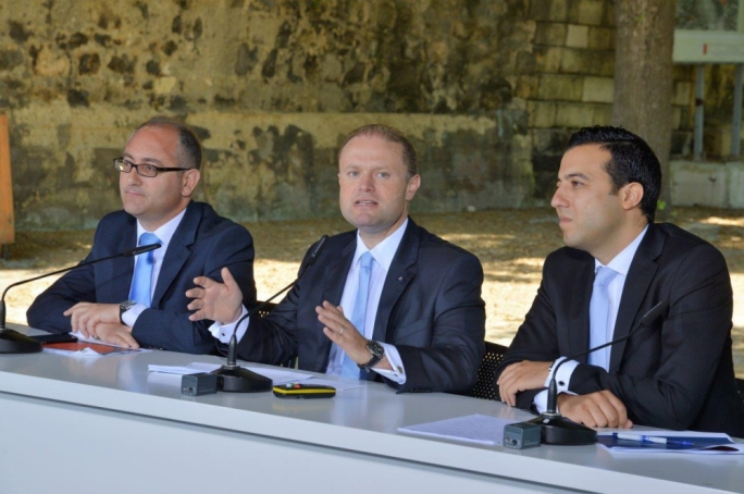 Labour leader Joseph Muscat during a press conference at Buskett