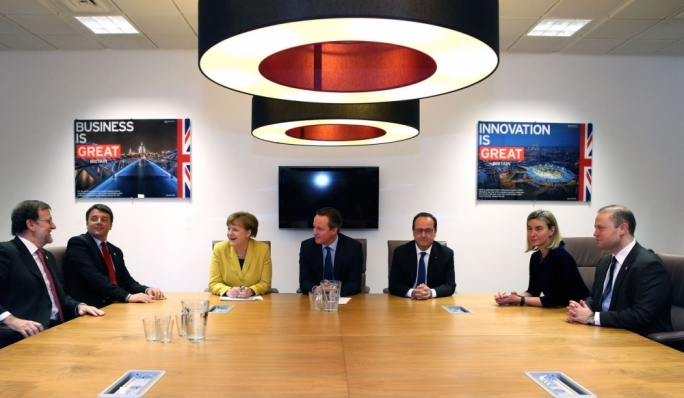 L-R: Rajoy, Renzi, Merkel, Cameron, Hollande, Mogherini and Muscat