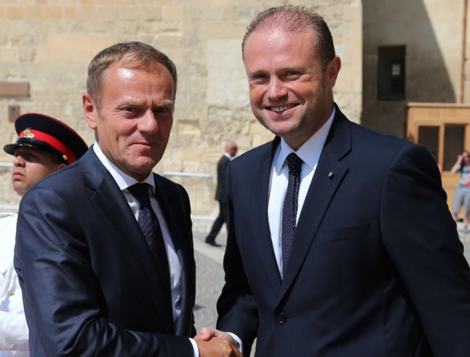 European Council President Donald Tusk with Prime Minister Joseph Muscat