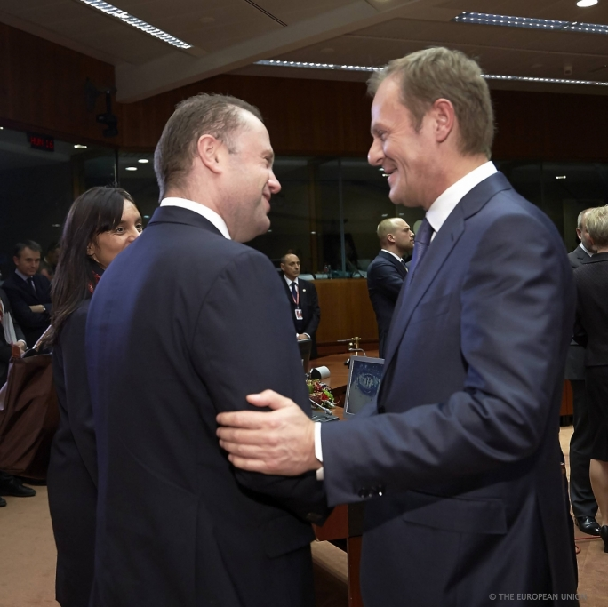 Prime Minister Joseph Muscat with EU Council President Donal Tusk