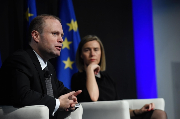 Prime Minister Joseph Muscat and High Representative Federica Mogherini (Photo: Clifton Fenech/DOI)