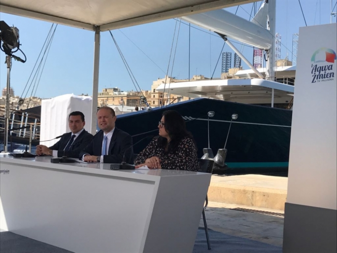 Prime Minister and Labour Party leader Joseph Muscat addresses a press conference with parliamentary secretary Deborah Schembri and Malta Freeport Corporation CEO Aaron Farrugia (Photo: Miriam Dalli/MediaToday)