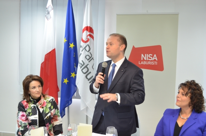Prime Minister Joseph Muscat addresses a working lunch at the Labour headquarters. Photo: Chris Mangion