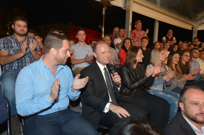 Labour leader Joseph Muscat addresses the launch of the FZL's electoral campaign, Next 5
