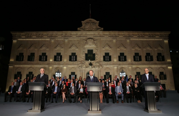 Prime Minister Joseph Muscat, deputy prime minister Louis Grech and finance minister Edward Scicluna address a press conference (Photo: Reuben Piscopo/DOI)