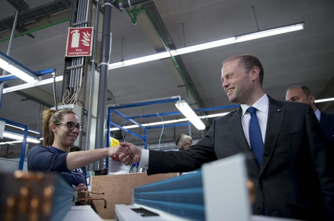 The Prime Minister also met workers at Siefert Systems Ltd (Photo: DOI/Jason Borg)