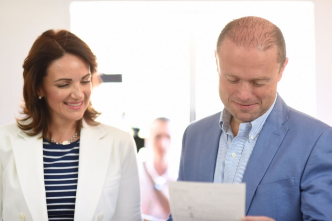 Prime Minister Joseph Muscat and Michelle Muscat cast their vote (Photo: James Bianchi/MediaToday)