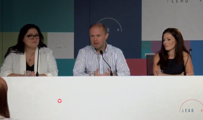 Labour Party leader Joseph Muscat flanked by Labour MEP Miriam Dalli and Deborah Schembri