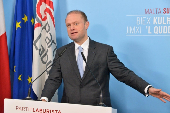 Prime Minister Joseph Muscat addressing party faithful in Safi