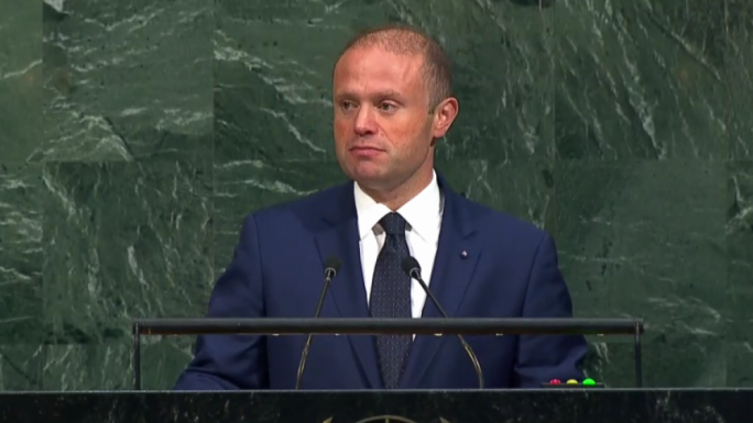 Prime Minister Joseph Muscat addresses the United Nations General Assembly