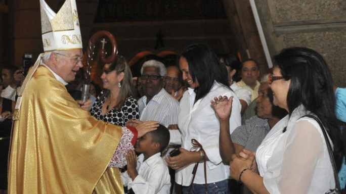 Archbishop Jozef Wesolowski greets people after a Mass in Santo Domingo, Dominican Republic, in March 2013