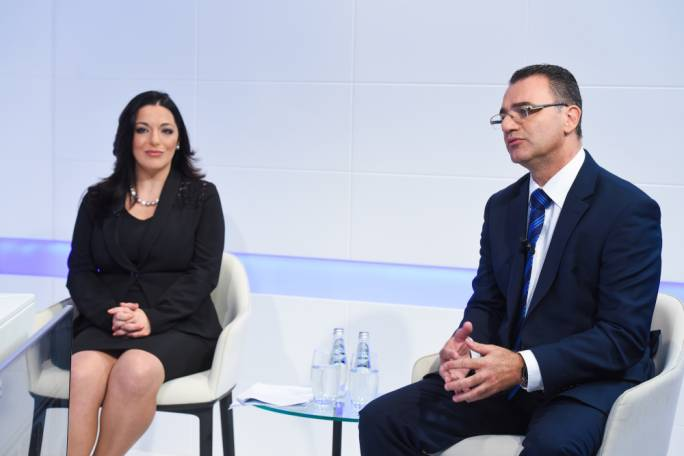 Parliamentary secretary Julia Farrugia Portelli (left) with Opposition Whip David Agius (right)