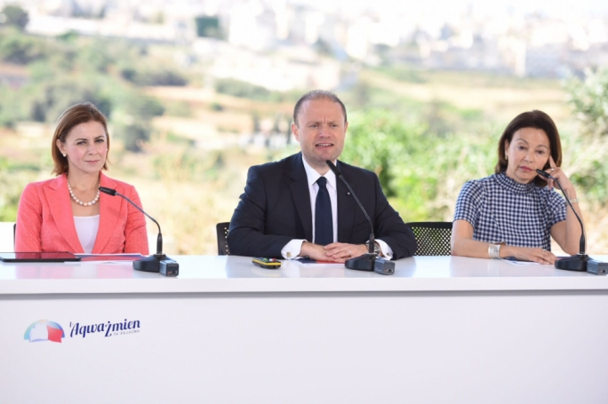Prime Minister and Labour Party leader Joseph Muscat addresses a press conference with parliamentary secretary for active ageing Justyne Caruana (L) (Photo: James Bianchi/MediaToday)