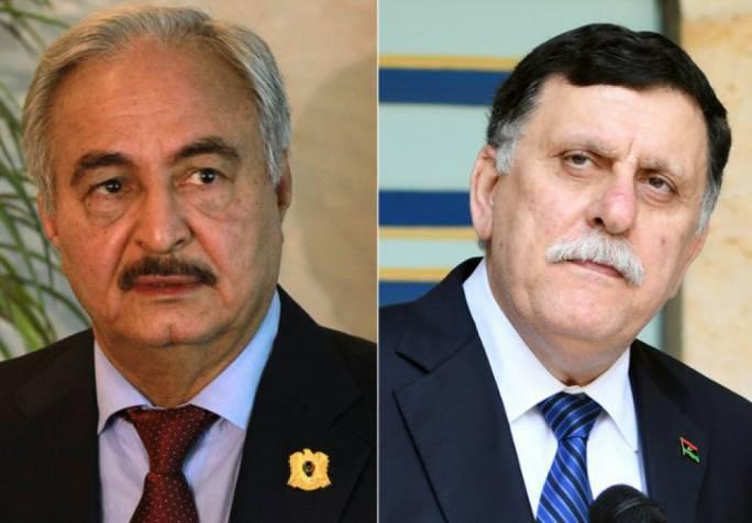 Self-styled Libyan National Army's chief Khalifa Haftar (L) and Libya's UN-backed Prime Minister Fayez al-Sarraj (R)