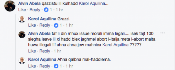 Karol Aquilina attempted to engage with another angry supporter