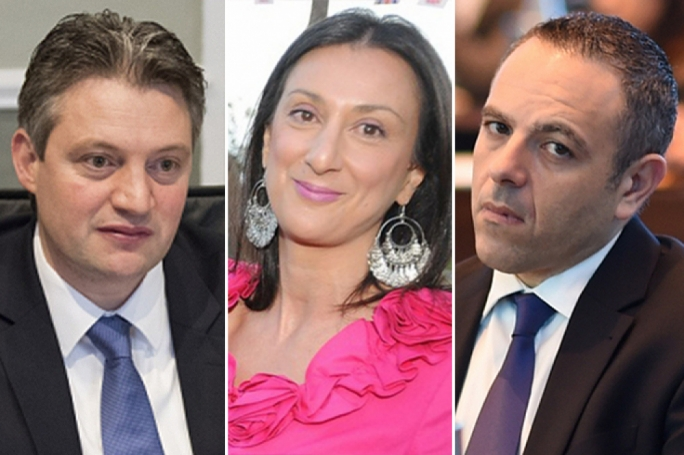 Minister Konrad Mizzi (left) and OPM chief of staff Keith Schmebri will be suing Daphne Caruana Galizia on Monday