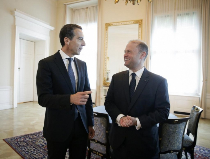 Austrian Chancellor Christian Kern (left) with Prime Minister Joseph Muscat