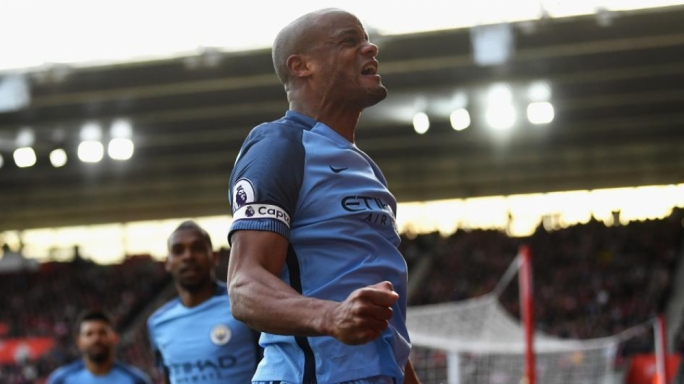 Vincent Kompany celebrating his goal