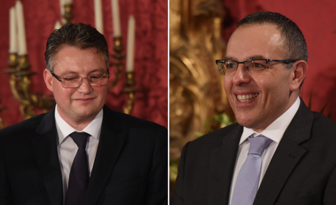 Konrad Mizzi (left) and Keith Schembri (right) have been re-appointed as minister and OPM chief of staff